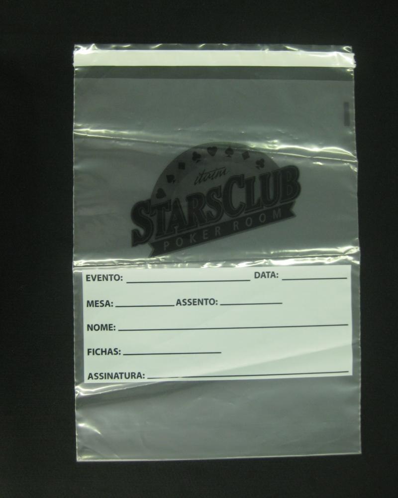 Envelopes Plásticos para Guarda de Fichas de Poker com Aba e Fita Inviolável