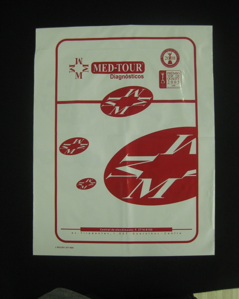 Envelopes Plásticos para Chapas de RX e Tomografia Tipo Fronha
