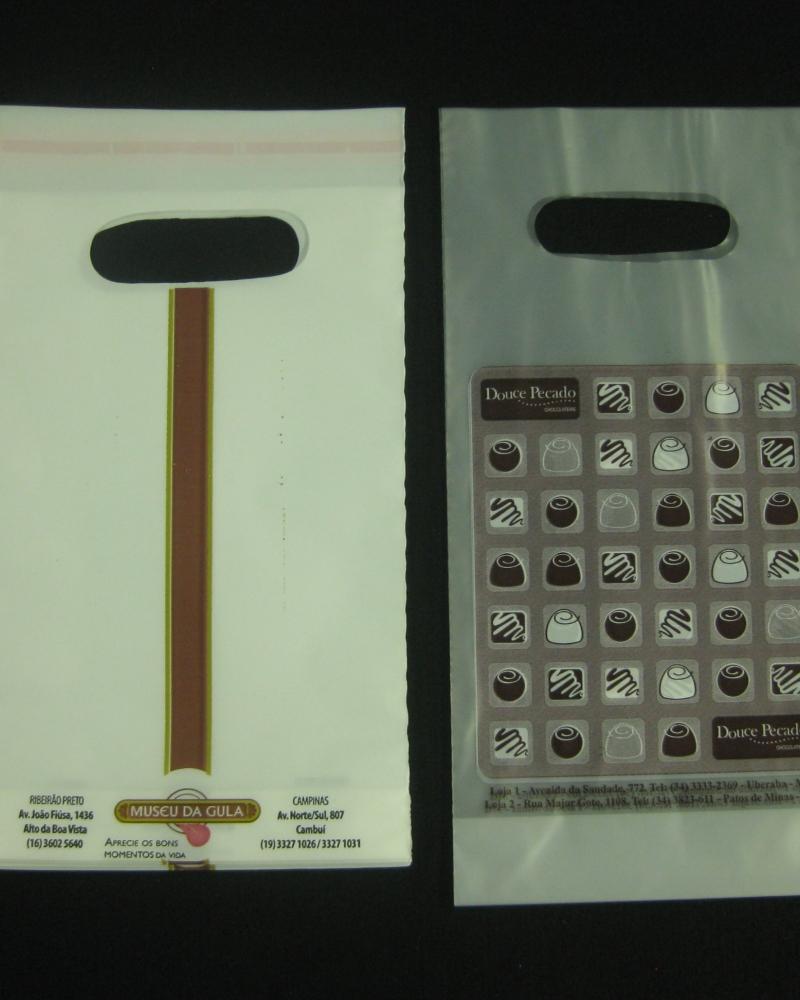Sacolas Plásticas para Docerias Alça Boca Vazada com Aba e Fita