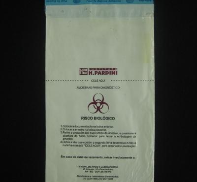 Envelopes Plásticos para Coleta de Material Biológico MBL com Impressão com Aba e Fita
