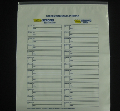 Envelopes Plásticos de Correspondência Interna com Fecho Zip
