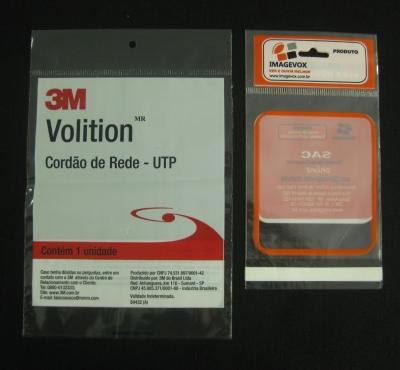 Sacos Plásticos Para Equipamentos, Peças e Acessórios Eletro-Eletrônicos com Solapa com Furo Para Display Com Aba e Fita ou Boca Reta