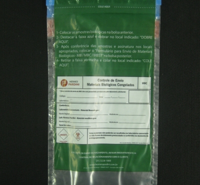 Envelopes Pl�sticos para Coleta de Material Biol�gico Congelado MBC com Aba e Fita com Impress�o