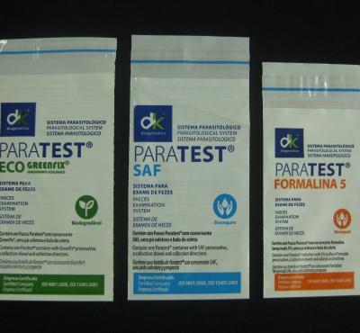 Envelopes Pl�sticos para Kit de Exames Parasitol�gicos Impresso com Aba e Fita