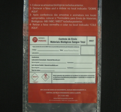 Envelopes Pl�sticos para Coleta de Material Biol�gico Sangue Total MBST com Aba e Fita com Impress�o