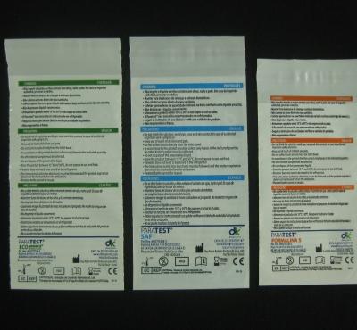 Envelopes Plásticos para Kit de Exames Parasitológicos Impresso com Aba e Fita