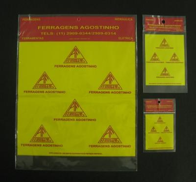 Sacos Pl�sticos para Metais Sanit�rios e Ferragens com Solapa, com Furo e Ilh�s para Display com Aba e Fita ou Boca Reta
